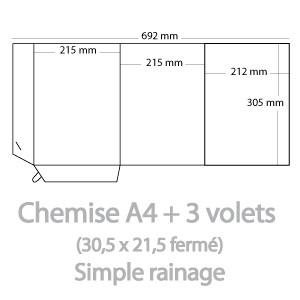 Chemises A4 3 volets (21,5x30,5cm fermé)